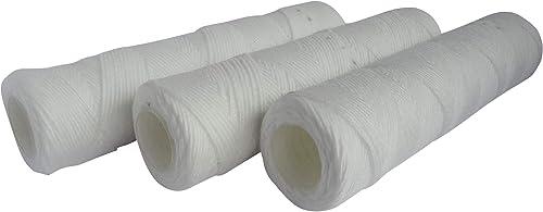 """AQUAWATER - 105004 - Lot de 3 cartouches filtrante anti-sédiments bobinée 20 microns - Taille standard 10"""", pour filt..."""