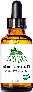 Nature Drop's USDA Organic Aloe Vera Oil - 2 oz - 100% pure, Vitamin C, E, B, allantoin, minerals, proteins, polysaccharides, enzymes