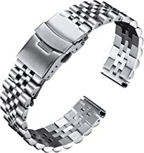 BINLUN Stainless Steel Watch Bands Replacement Metal Watch Straps Bracelet with Durable Butterfly Clasp 18mm 20mm 22mm 24m...