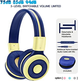 SIMOLIO Bluetooth Headphones for Kids with Mic, 75dB,85dB,94dB Volume Limited, Kids Wireless Headsets with Share Port, Portable Kids Friendly Headphone with Hard Case for Gifts,School,Travel (Yellow)