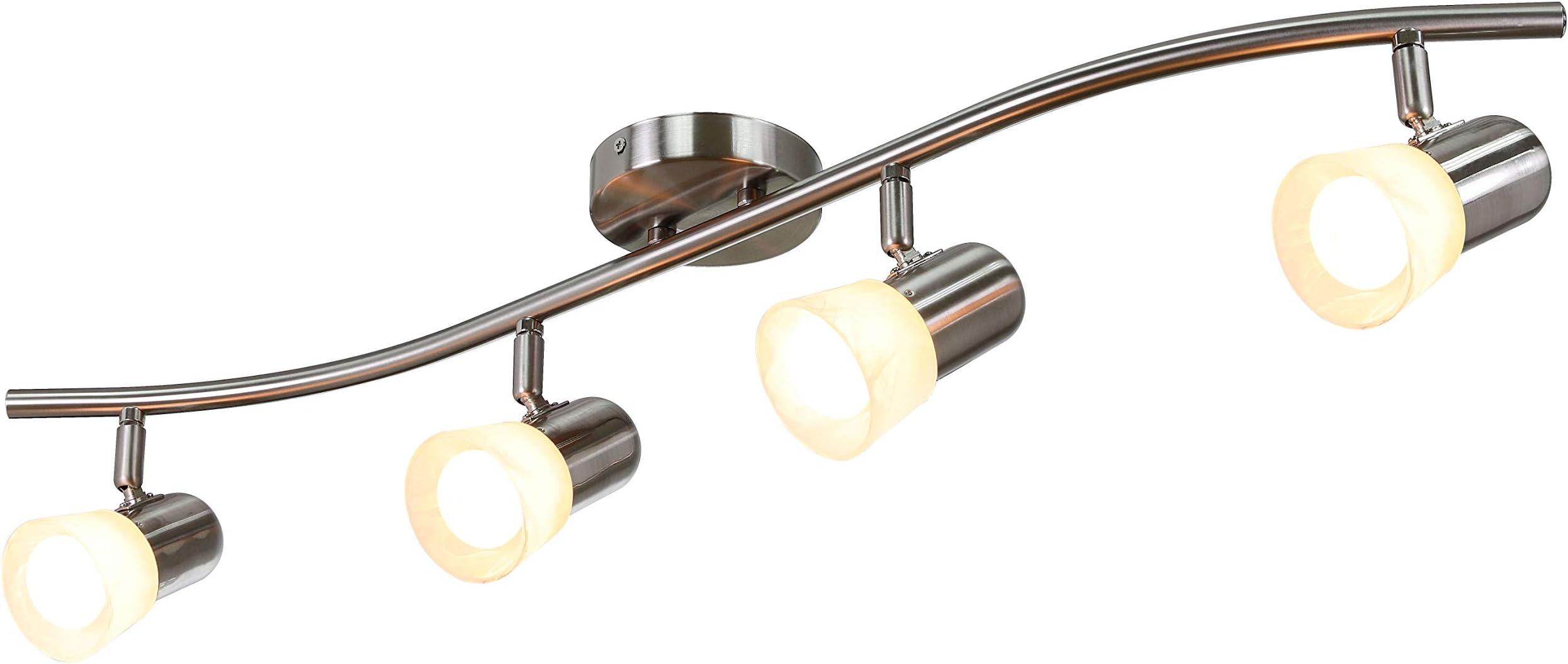 XiNBEi Lighting Track Lighting 4 Light Track Light with Alabaster Glass, Modern Track Light Bar in Brushed Nickel for Kitchen & Living Room XB-TR1213-4