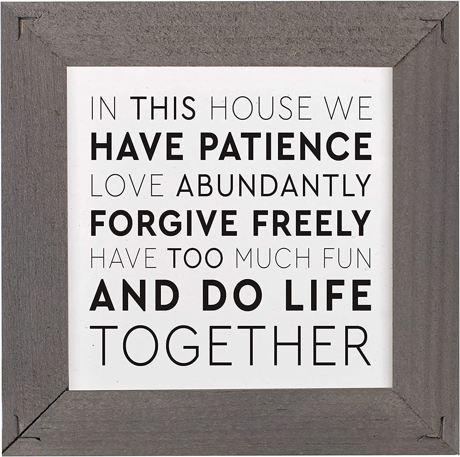 P. Graham Dunn We Have Patience Classic White 5 x 5 Pine Wood Decorative Tabletop Framed Sign