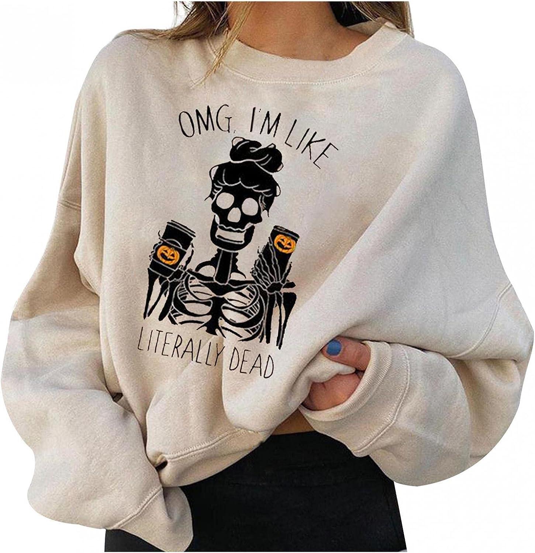 Halloween Sweatshirts for Women,Halloween Sweatshirts for Women Skull Print Long Sleeve Trendy Crewneck Shirt