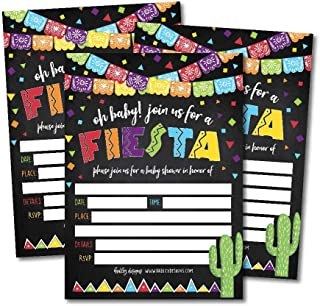 25 Fiesta Baby Shower Invitations, Sprinkle Invite for boy or girl, Spanish Mexican Theme Gender Neutral Reveal, Cute Printed Fill or Write In Blank Printable Card Coed Twin Party Stock Paper Supplies