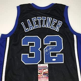 Autographed/Signed Christian Laettner Duke Blue Devils Black Basketball Jersey JSA COA
