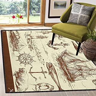 "Philip C. Williams Marine Navy Captains Unique Area Rug,Oceanic Theme Retro Style Drawing Effect Framed Nautical Collection with No-Slip pad Brown Cream 59""x71"""