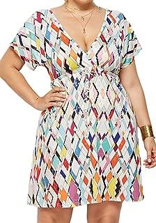Enggras Women's Wrap V Neck Empire Waist Printed Pleated Summer Beach Party Plus Size Mini Dress