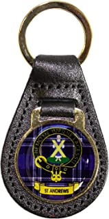 Leather Key Fob Scottish Clan Crest St Andrews Scottish Made