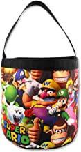 Super Mario Brothers Collapsible Nylon Gift Basket Bucket Toy Storage Tote Bag (One Size, Black/Multi)
