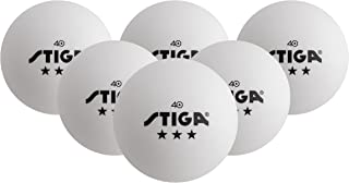 STIGA 3-Star White Table Tennis Balls for Tournament Play (6-Pack)