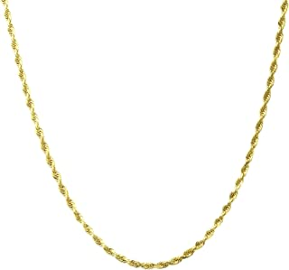 "14K Yellow Gold 1.5MM Diamond Cut Rope Chain Necklace -14""-24"" -Lobster Lock Closure"