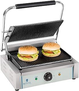 Royal Catering Machine à Panini Burger Nervurée RCKG-2200-G (2.200W, 230V, supérieur plaque de cuisson 34x22, inférieur pl...