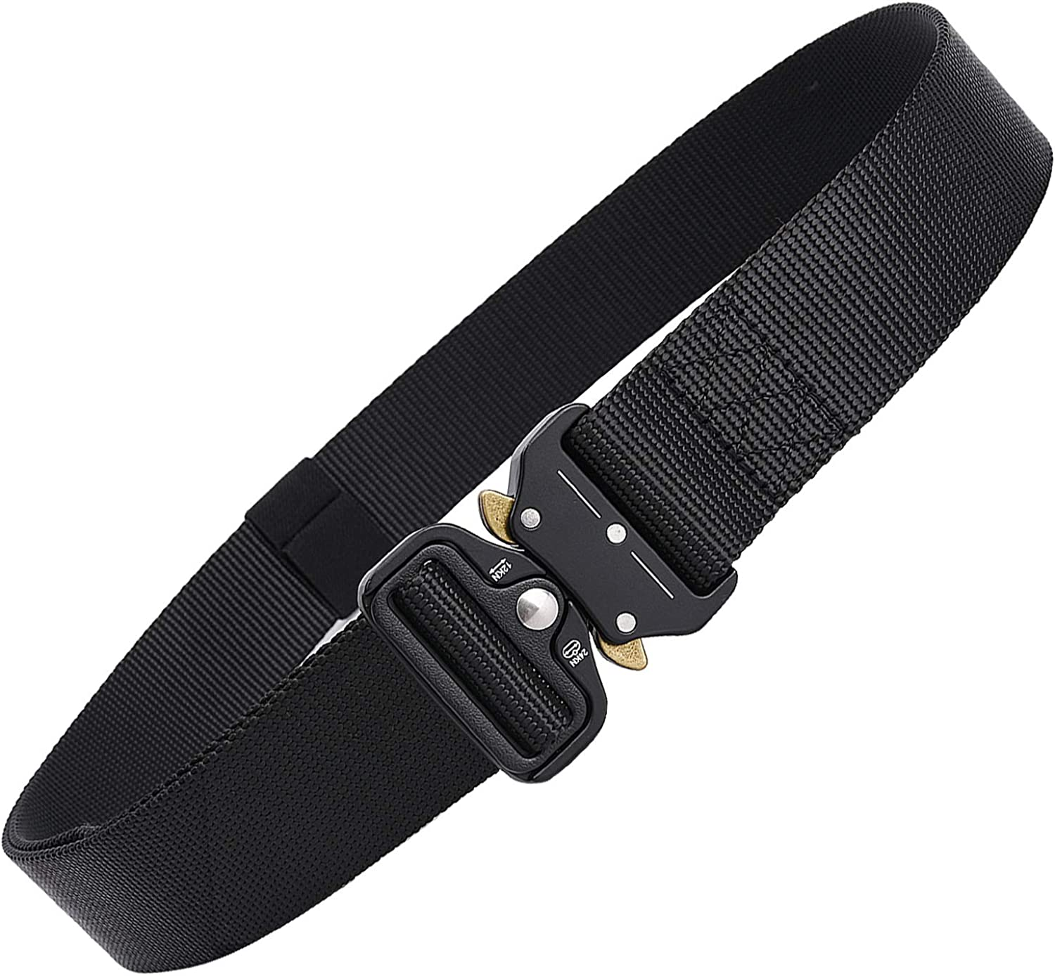 TOBWOLF Military Tactical Belt, 1.5  Wide Heavy Duty Waist Belt for Men, Adjustable Nylon Casual Webbing Riggers with Medal Buckle