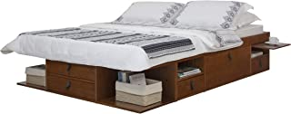 Memomad Bali Storage Platform Bed with Drawers (Queen Size, Caramel)