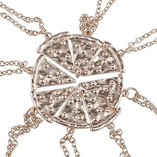 Lux Accessories Rose Gold Tone Pizza Pie Slice Best Friends BFF Necklace Set 8PC