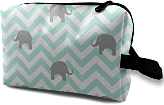 Baby Elephants In Aqua Travel Makeup Cute Cosmetic Case Organizer Portable Storage Bag for Women
