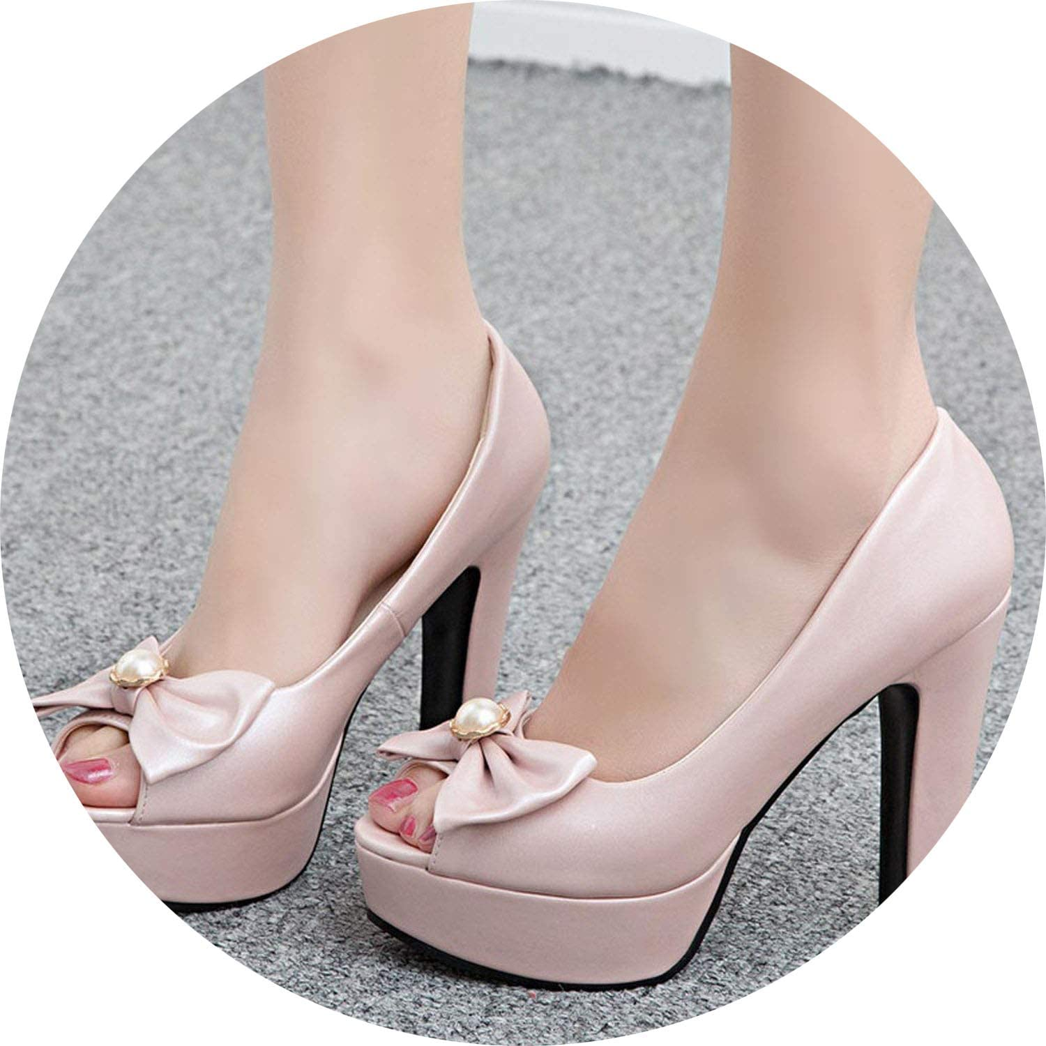 FINDYOU Women Super High Heel Wedding Pumps 12cm Peep Toe Sweet Bowtie Sexy Party shoes Lady Platform