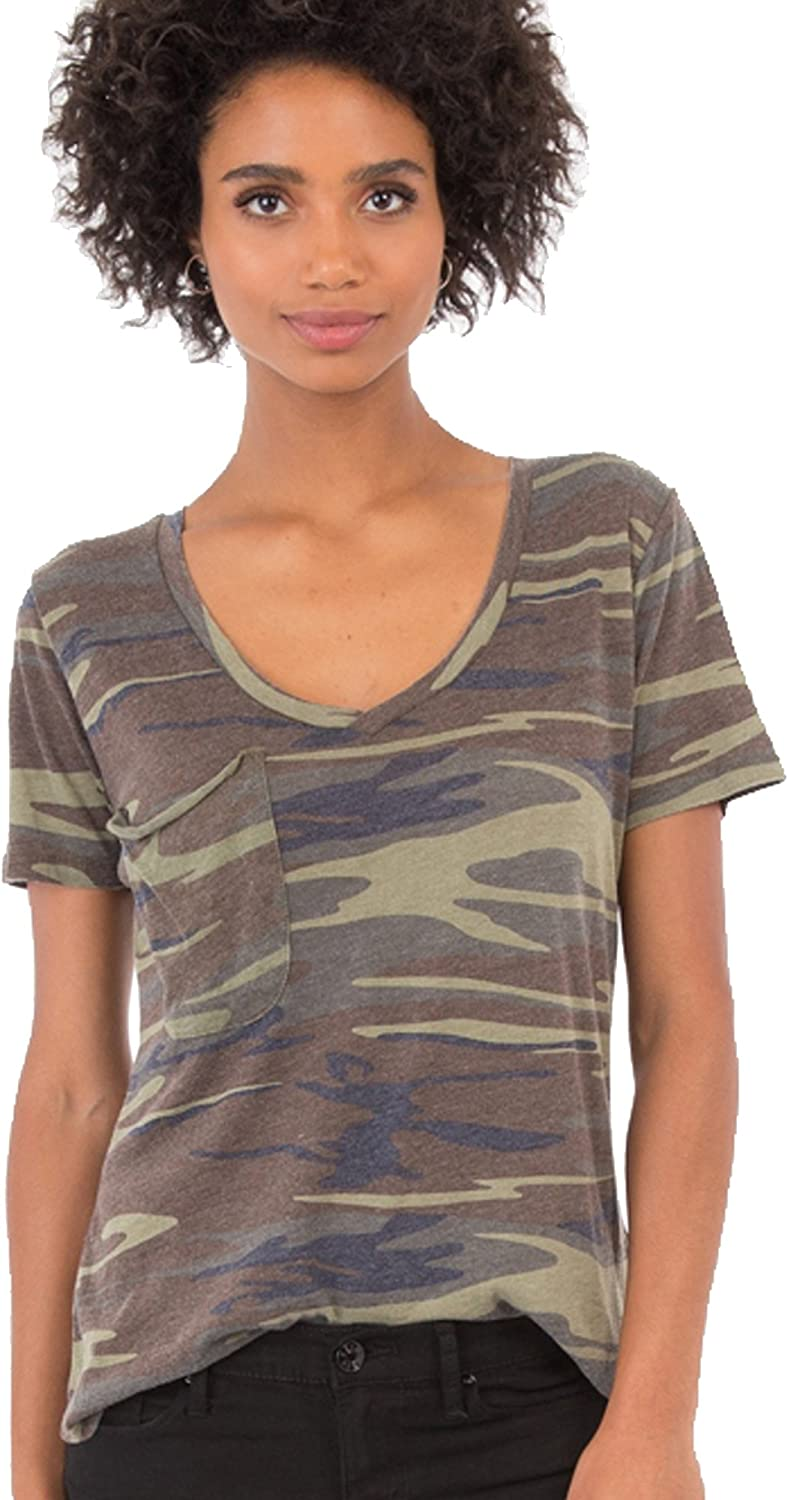 Z Supply The Camo Pocket Tee V Neck Burnout Relaxed Fit
