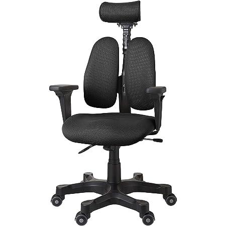 デュオレスト オフィスチェア ブラック 可動肘 メッシュ地 可動ヘッドレスト 腰痛対策 姿勢サポート DR-7501SP 1ABK1