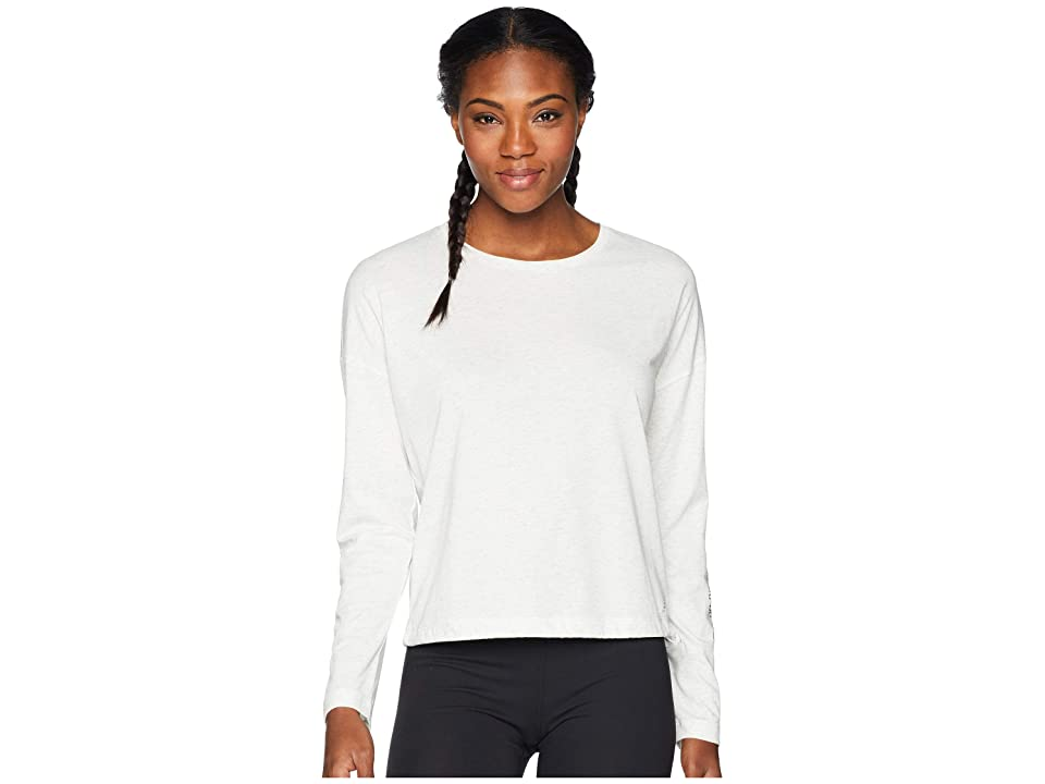 New Balance Heather Tech Long Sleeve Top (Sea Salt Heather/Black) Women