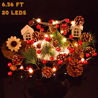 Battery Operated Garland Lights Christmas Garland with Lights Red Berry and Pine Cone 6.5FT 20LEDs Xmas Tree Garland Indoor Decoration Warm Lights for Holiday Party Wedding Home Prelit Mantle (Gold)