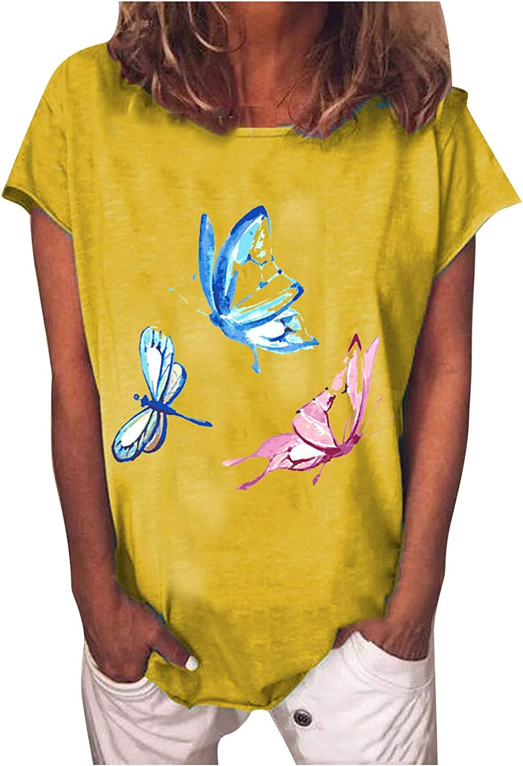 FABIURT Women Short Sleeve Tops,Womens Vintage Butterfly Gardient Printed Crew Neck T Shirts Summer Casual Blouse Tops
