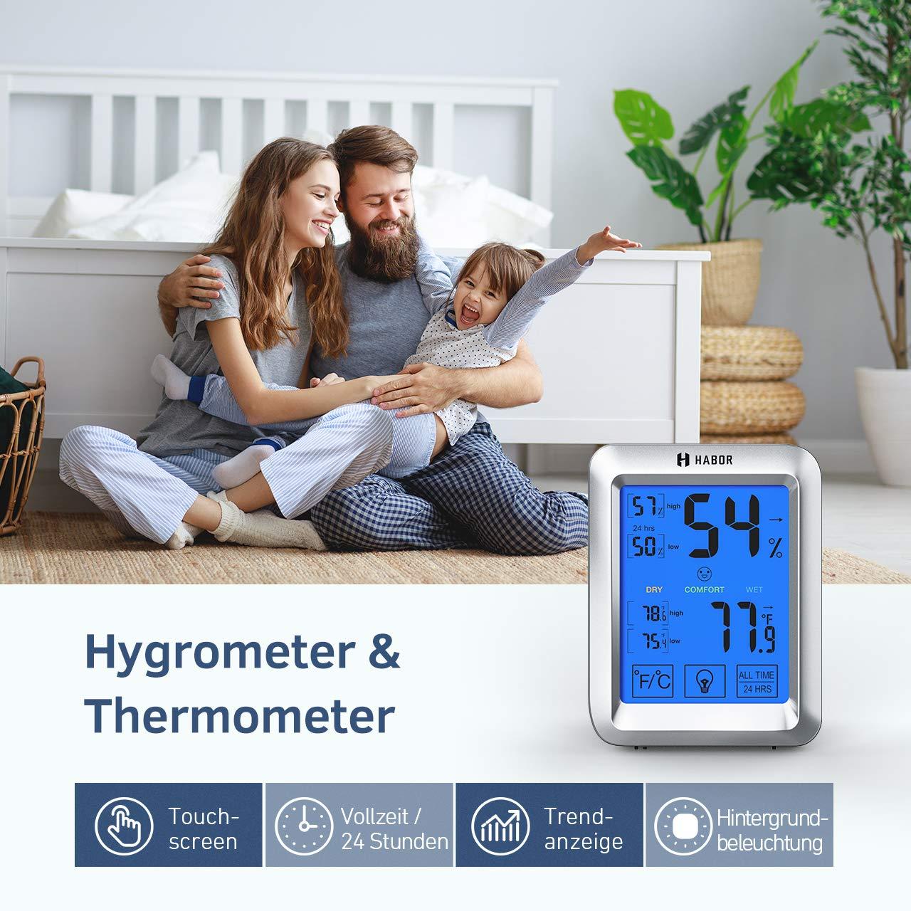 Habor Hygrometer Thermometer Innen, Raum Thermometer mit  Hintergrundbeleuchtung, Touchscreen Luftfeuchtigkeitsmessgerät Innen  Digitales Hygrometer