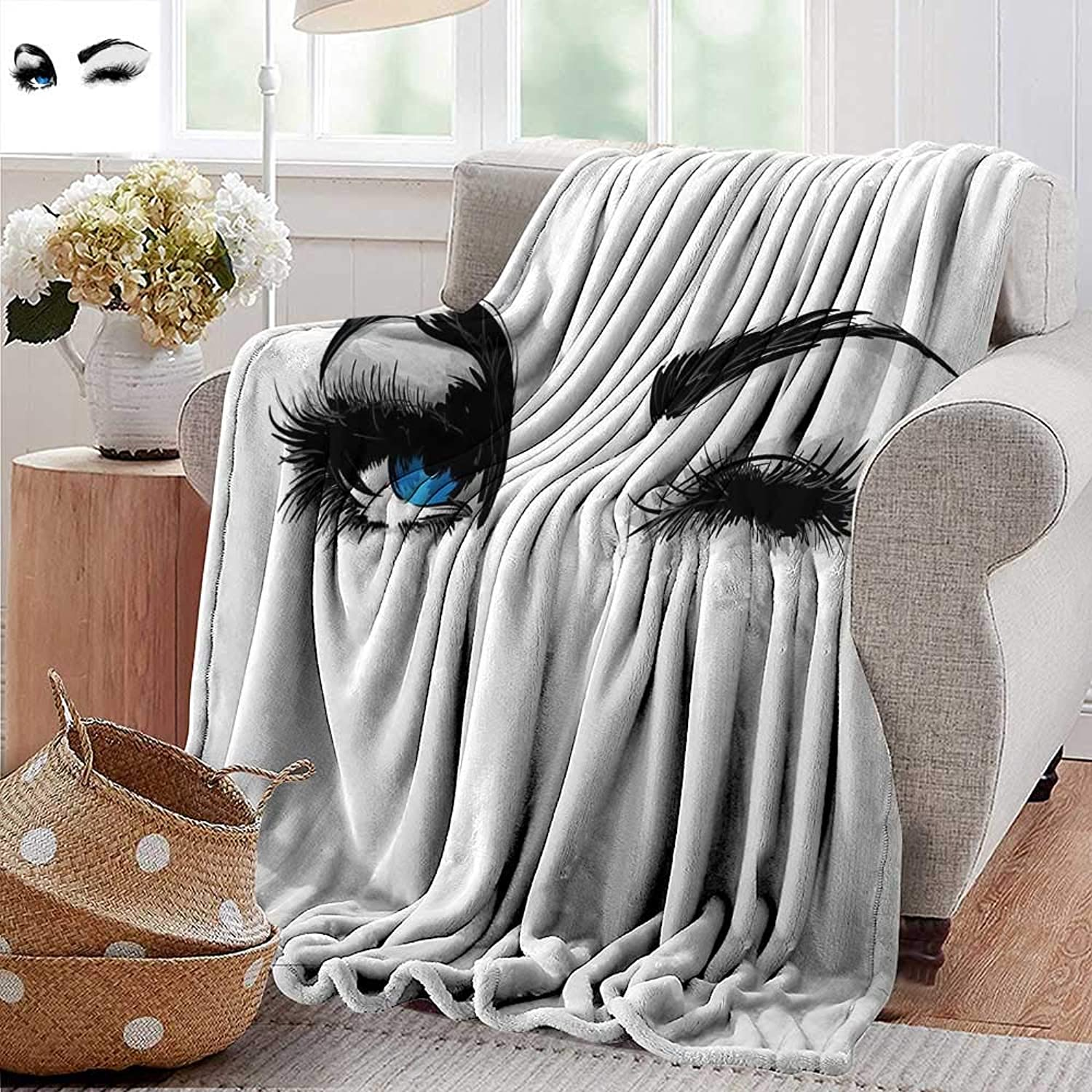 Weighted Blanket for Kids,Eye,Flirty Attractive Woman with bluee Eyes and Thick Lashes Beauty Glamor Youth,bluee Black Pale Grey,Weighted Blanket for Adults Kids, Better Deeper Sleep 35 x60
