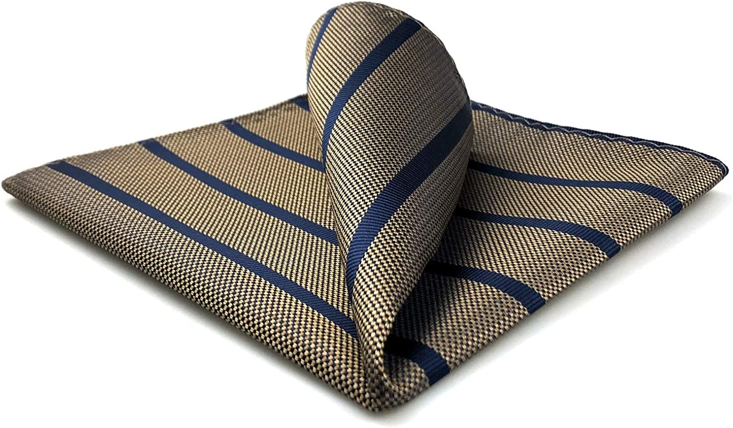 S&W SHLAX&WING Pocket Squares for Men Silk Brown Striped Blue