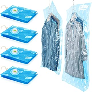 TAILI Hanging Space Saver 4 Pack Vacuum Storage Bags (2 Long 53 x 27.6 & 2 Short 41.3 x 27.6) 5 Cascading Hangers, Garment Protect Closet Organizer Ideal for Clothes, Suits, Dresses, Jackets