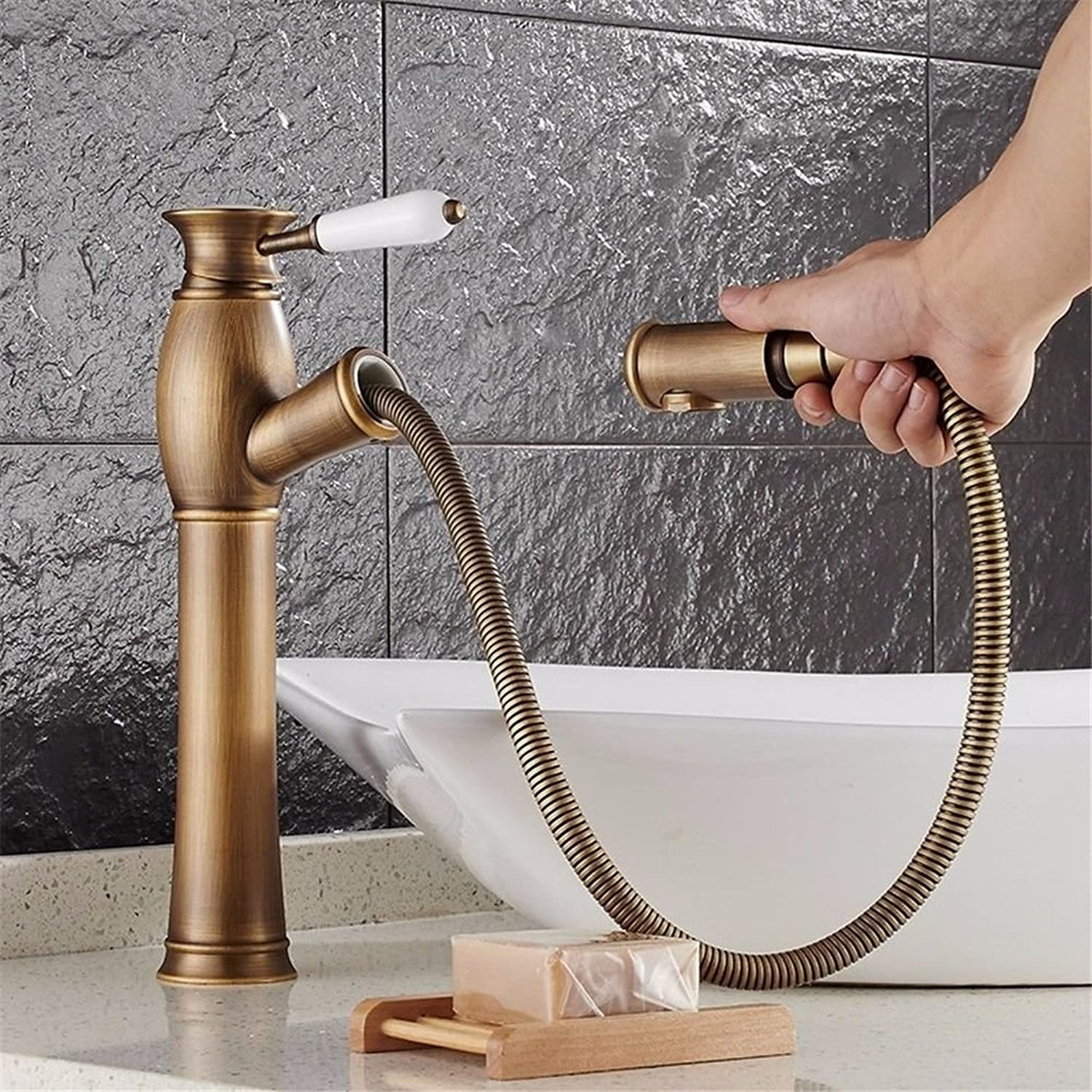 SADASD European High-End Copper Bathroom Basin Faucet Pull Telescopic Faucet redating Antique Brushed Wash Basin Sink Taps Single Hole Single Handle Ceramic Valve Hot And Cold Water Mixer Tap With G1 2 Hose