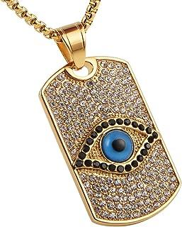 AsAlways Men & Women 18K Gold Eye of Horus Egypt Charm Jewelry Dog Tag Good Luck Success Amulet Friendship Cross pendant