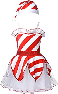 QinCiao Toddler Kids Girls Santa Claus Christmas Costume Sequined Tutu Dress with Hat for Ice Skating/Ballet Dancewear