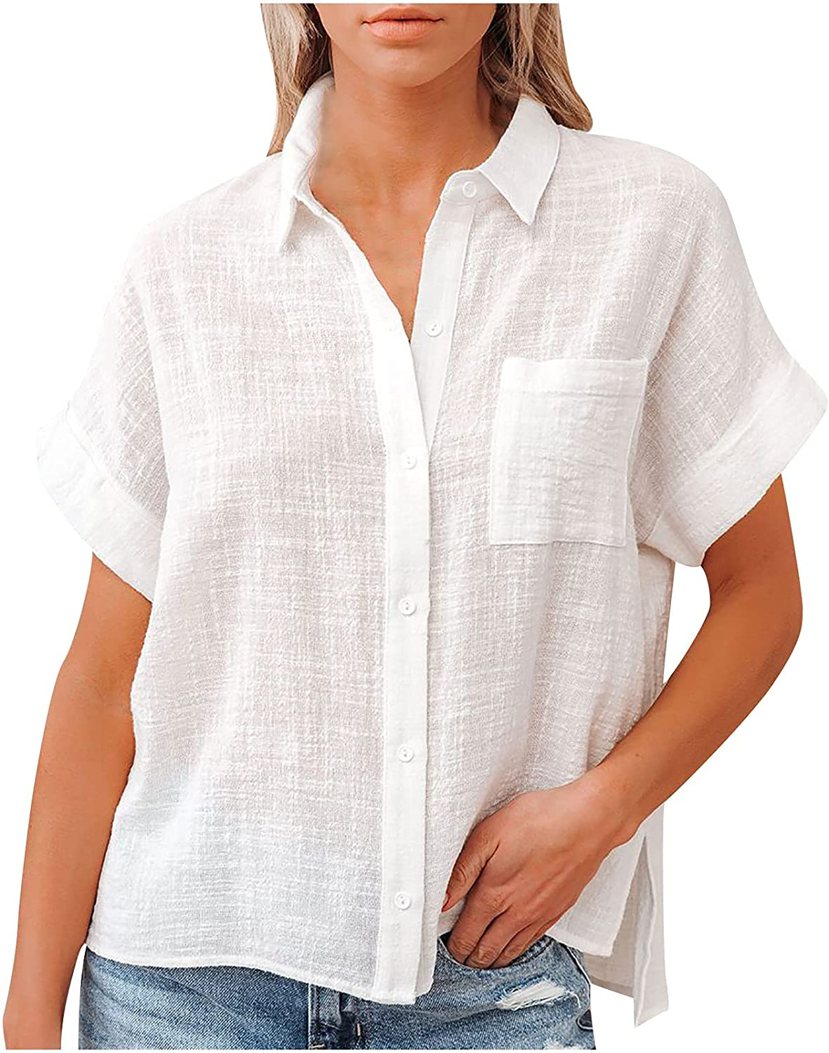 Women Cotton and Linen Shirt Solid Color Button Down Lapel Pocket Short Sleeve Summer Ladies Office Tops Blouses
