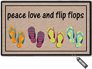 MsMr Funny Door Mat Entrance Floor Mat Peace Love and Flip Flops Non-Slip Doormat Welcome Mat 23.6 inch by 15.7 inch Machine Washable Non-Woven Fabric