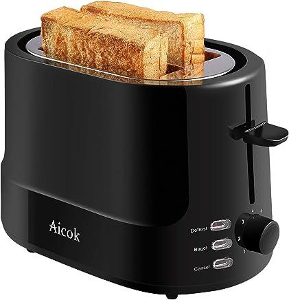 Aicok Tostadora 850W Tostadora Pan con 7 Niveles de Browning, Tostadora 2 Ranuras Anchas y Funciones de Descongelación y Recalentamiento, Pared Fria, Libre de BPA