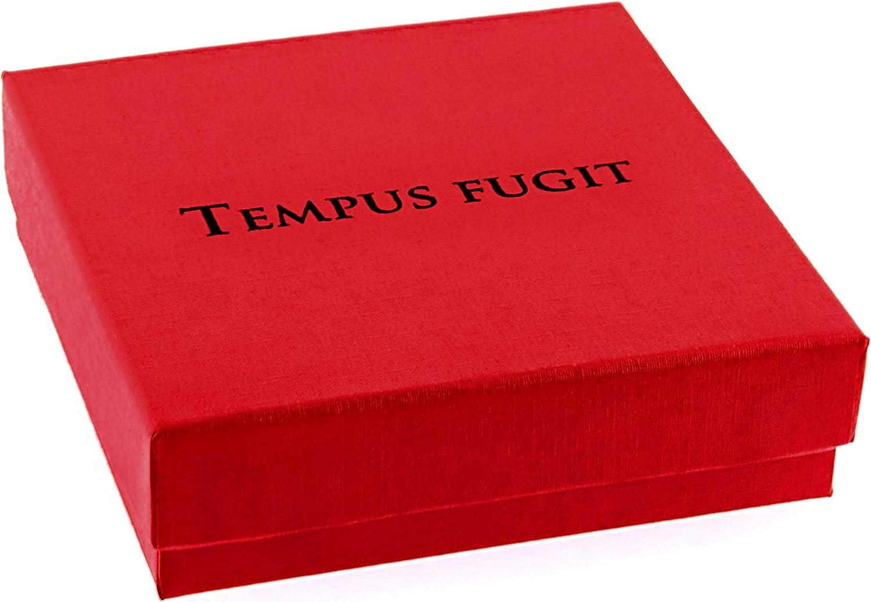 Regalo para el Hijo TEMPUS FUGIT Colgante//Collar de Acero Inoxidable Brillante Antial/érgico con Mensaje Grabado y Cadena de 60 cm