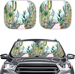 NETILGEN 2pcs Cute Cactus Printed Foldable Window Sun Shades, Automotive Windshield, Auto Sunshade Cover, UV Blocking Sun ...