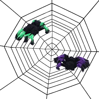 BESTOMZ Halloween Props Spider Web Plush Simulation Spider Haunted House Decoration Tricky Toy Halloween Party Supplies (3 Pcs- Black)