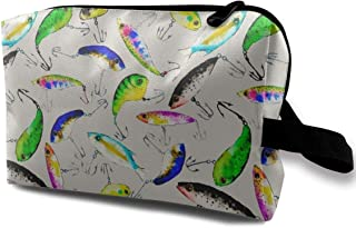 Fishing Is Fly Gray Travel Makeup Cute Cosmetic Case Organizer Portable Storage Bag for Women