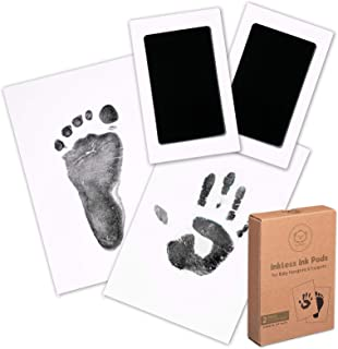Baby Footprint & Handprint Inkless Ink Pad - 2-Pack Clean Touch Hand and Foot Print Keepsake Ink Pads - Paw Stamp Print - ...