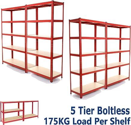 dicn 180x90x40cm  Red Tier Shelving Rack 4-Unit  175kg Capacity Per Shelf  Boltless Freestanding Shelves for Garage Home Storage Shed Warehouse