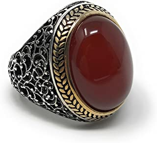 KAR 925K Stamped Sterling Silver Agate (Aqeeq) Men's Ring I1T