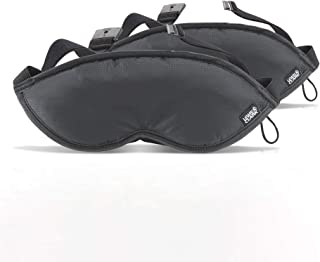 Comfort Eye Mask + Sleep Aid to Block Light for Travel, Airplane, Hotel, Airport, Insomnia + Headache Relief with Adjustable Straps, 2 pack, Black