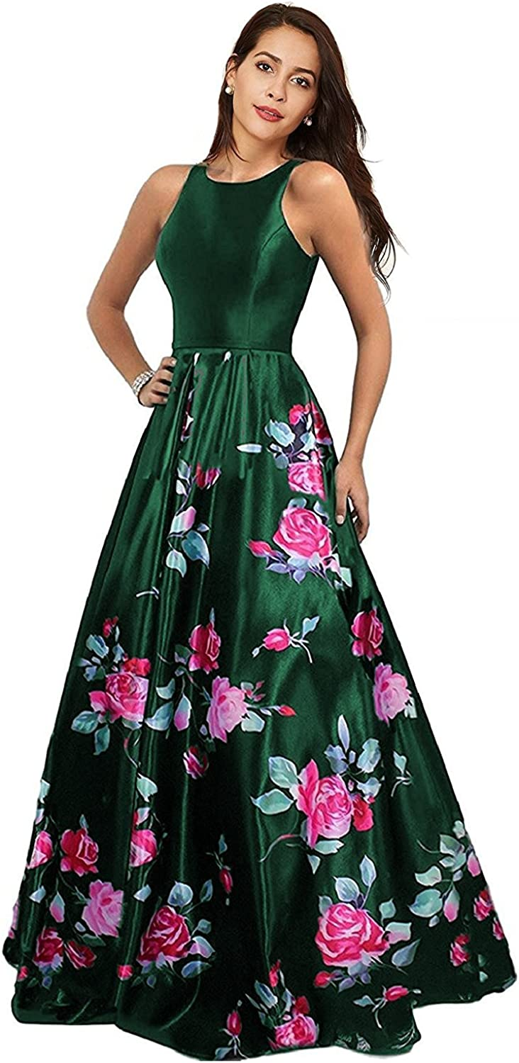 JoyVany Women Floral Backless Long Evening Prom Dress 2018 Formal Gown