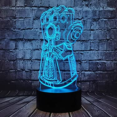 Thanos Glove Table Lamp Marvel Infinity Gauntlet LED Illusion Six Diamond Avengers Theme Infinity War Cartoon 7 Color USB Change Mood Night Light For Boy Room Holiday Birthday Gift Kid Toy(Thanos Hand