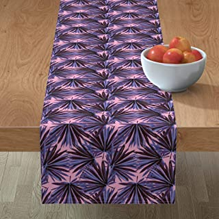 Roostery Tablerunner, Botanical Banana Leaf Jungle Preppy Leaves Chinoiserie Decor Plants Pink Floral Hollywood Regency Print, Cotton Sateen Table Runner, 16in x 90in