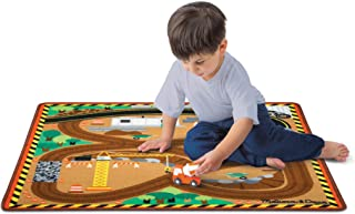 """Melissa & Doug Round The Construction Zone Work Site Rug with 3 Wooden Trucks (39 X 36"""", Frustration-Free Packaging)"""