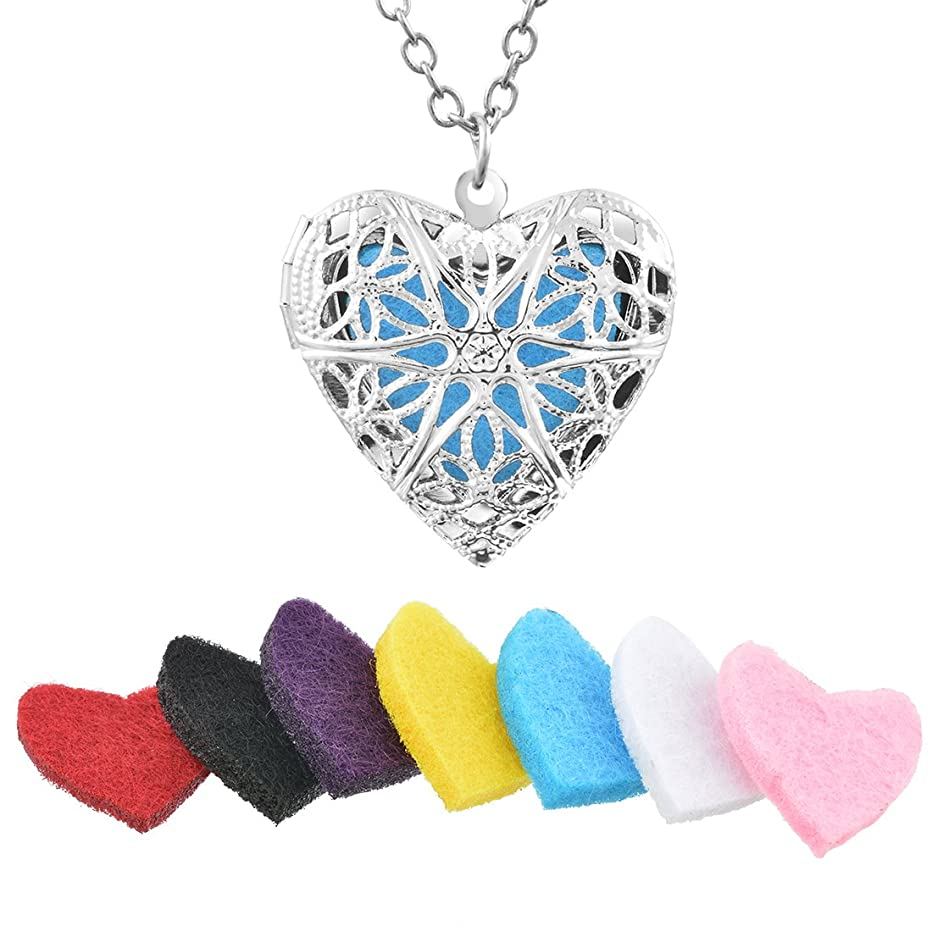 Souarts Hollow Heart Cage Hypo-Allergenic Aromatherapy Essential Oil Diffuser Locket Necklace 60cm