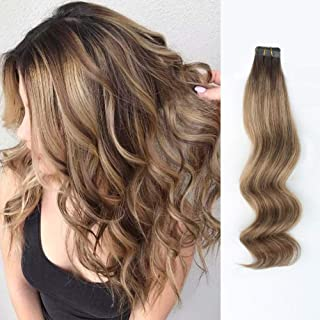 ABH AmazingBeauty Hair Pre-taped Double Sided Rooted with Highlighted tape extension, Real Remy Human Hair Skin Weft, Chestnut Brown-Dark Dirty Blonde with Dark Brown Root R3-6-12, 20 Inch